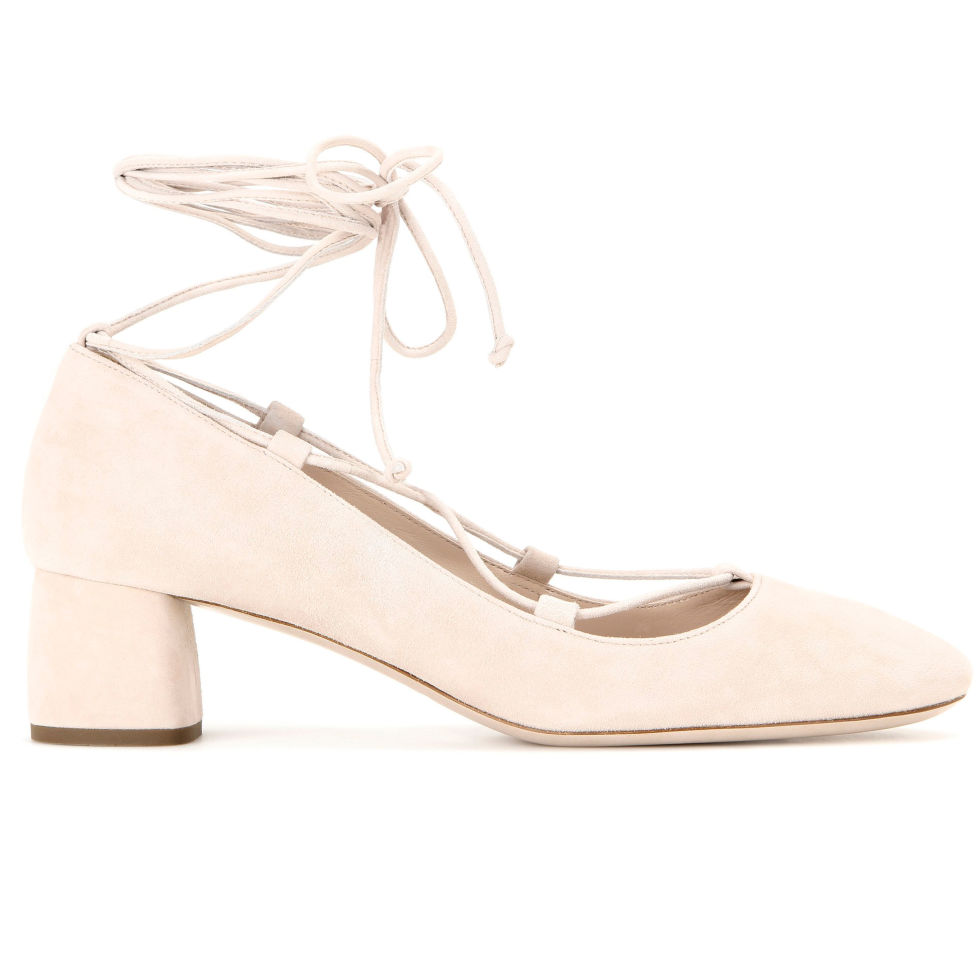 Red Block Heel Court Shoes