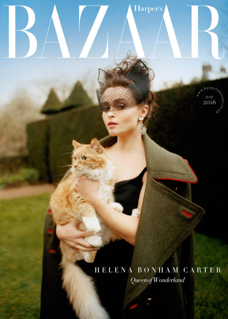 Helena Bonham Carter Harpers bazaar june 2016 cover shoot editorial