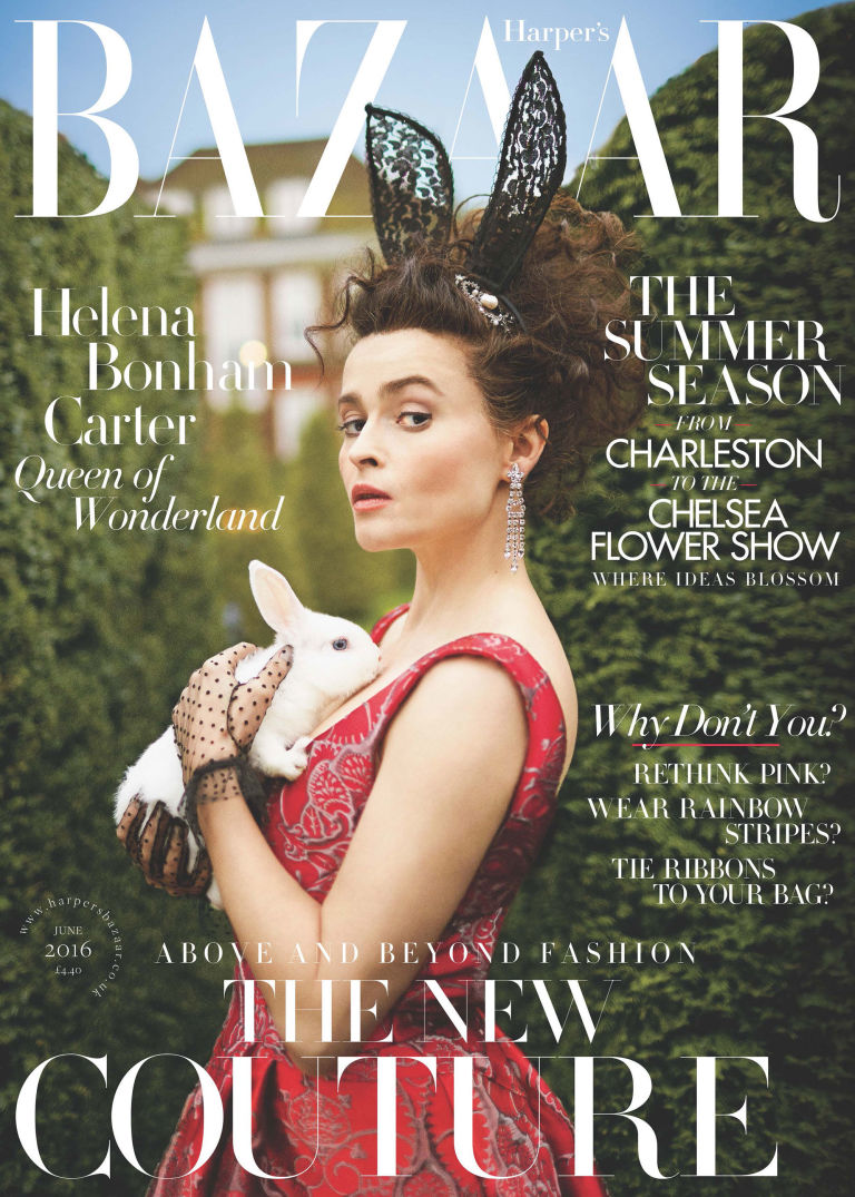 Helena Bonham Carter Harper's Bazaar cover shoot editorial June 2016