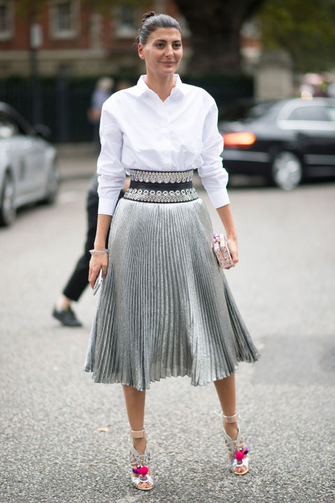 One of the most elegant pieces spotted on editors this season has been the pleated, metallic skirt.