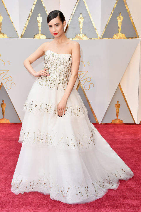 Sofia Carson donned a suitably regal strapless gown.