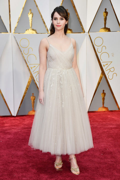 Felicity Jones chose a ballet-inspired Dior dress.