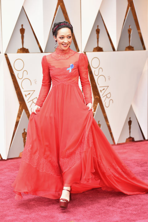 Ruth Negga in a dramatic Valentino dress.
