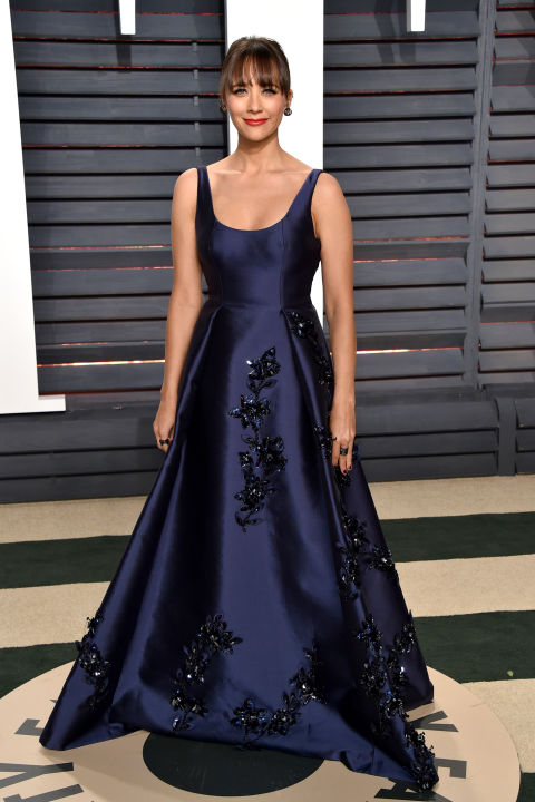 Rashida Jones wore a navy embellished Prada gown fit for a princess.