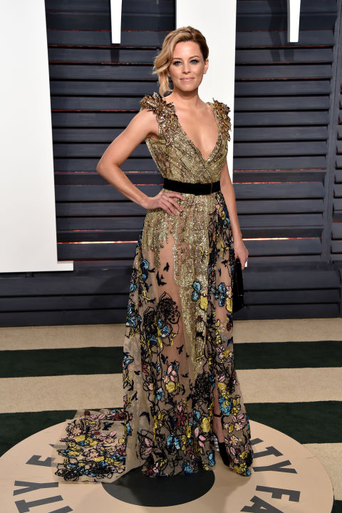 Elizabeth Banks in Elie Saab Haute Couture and Sophia Webster shoes