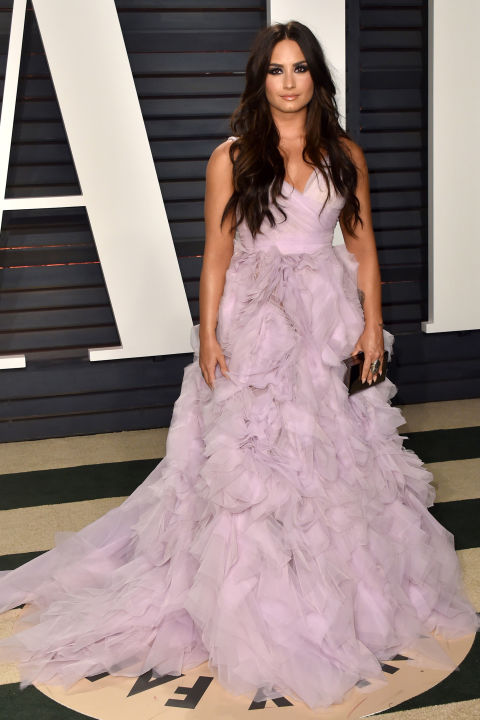 Frothy, lilac and ruffled, Demi Lovato's Monique Lhuillier gown was peak Disney princess.