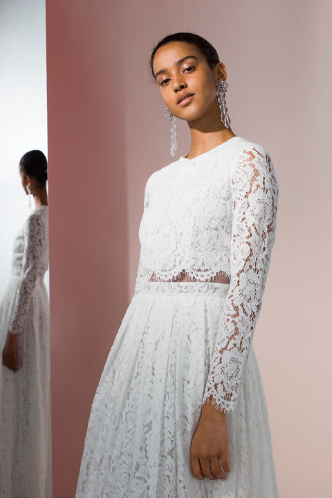 Latest A Lace Crop Top With Scalloped Edges Is Feminine But Modern Wedding Dress In November Rain Video
